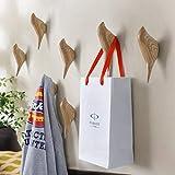 APSOONSELL Vogel Kleiderhaken Wand Haken, Wand Dekoration Mantelhaken, 2pcs, Holzmaserung