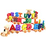 Trinkets & More® - Alphabet Train (A-Z) Wooden | English Letters Building Blocks | Early Educational Toys Kids 2+ Years