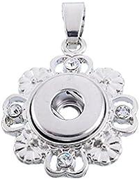 Souarts colgante para botón a presión brillantes en forma flor Creux