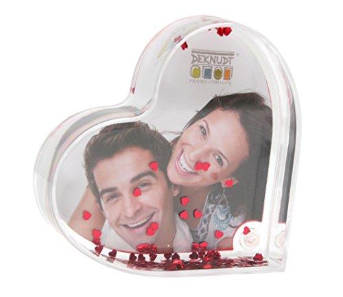 Deknudt Frames S66FE1 Cadre Photo Coeur en Plexi avec des Paillettes Rouge 9,8 x 6 x 2,3 cm