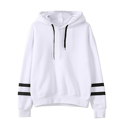 AHOOME Femme Chic Sweat-shirt à Capuche tops Thin Pullover Sport t-shirt Blanc