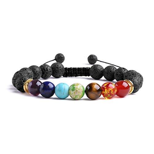 J.Fée 8mm natürliches Kristallarmband,Runde Chakra-Steinperlen Stretch/verstellbares Armband mit Ersatzschnur und Perle - Armband Mit Türkis-perlen