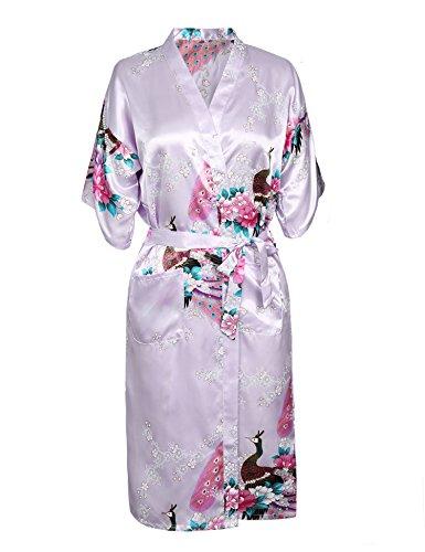 Aibrou Damen Satin Morgenmantel Kimono Lang Bademantel Schlafanzug Negligee Nachthemd Nachtwäsche Unterwäsche V Ausschnitt Mit Gürtel, Gr. S, Farbe: X-Lila(Pfau) (Kimono Lila)