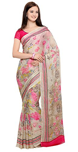 Vaamsi Chiffon Saree with Blouse Piece (CC1018_Beige_One Size)
