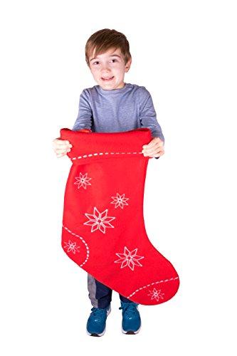 Clever Creations - Calza di Natale Extra Large - per Adulti/Bambini - per Piccoli Regali e dolcetti - Rosso con Fiocchi di Neve Bianchi - 66 cm