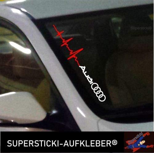SUPERSTICKI Winschutzscheibe Aufkleber ca.55cm Herzschlag kompatibel für Audi+ Ringe Autoaufkleber,Tuning,Sticker,Decal,Autotuning,Aufkleber,UV&waschanlagenfest,Profi-Qualität