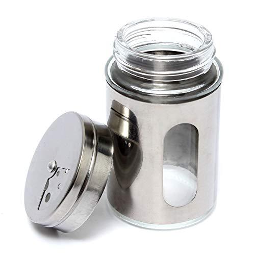 ExcLent Stainless Steel Glass Spice Shaker Empty Jar Condiment Salt Pepper Kitchen Storage Adjustable Cap