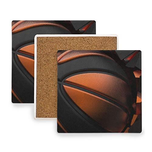 PANILUR Orangeblack Basketballkugel Auf Gebrochener Wand,Untersetzer Saugfähige Keramik,für Tassen Tisch Bar Glas (4 Packs)