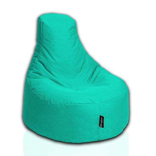 BuBiBag Sitzsack Gamer Playstation Sessel Lounge Kissen original Sitzkissen für In & Outdoor geeignet fertig befüllt mit EPS Styroporfüllung in 31 Farben erhältlich (80cm Durchmesser,Türkis)