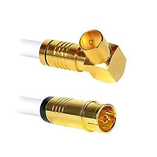 Antennenkabel | 10 Meter | Koax Stecker (90°) auf Koax Buchse (gerade) | 135dB 4K UHD 5-Fach Schirmung Anschlusskabel Koaxial Kabel Kabelfernsehen TV HDTV Radio Internet (10 Meter, Stecker 90°)
