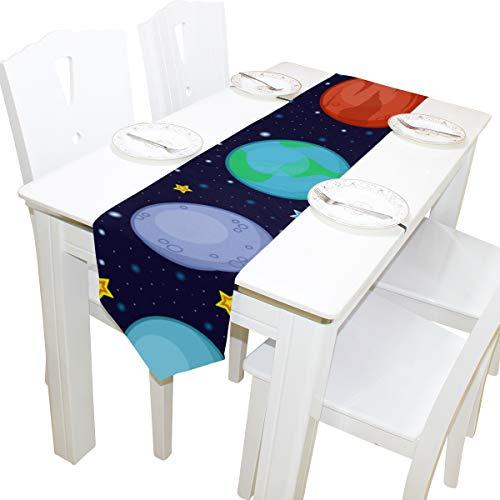 Yushg Mercury Travel Around Planet Dresser Schal Stoffbezug Tischläufer Tischdecke Tischset Küche Esszimmer Wohnzimmer Home Hochzeitsbankett Dekor Indoor 13x90 Zoll (Deco-tv-ständer)