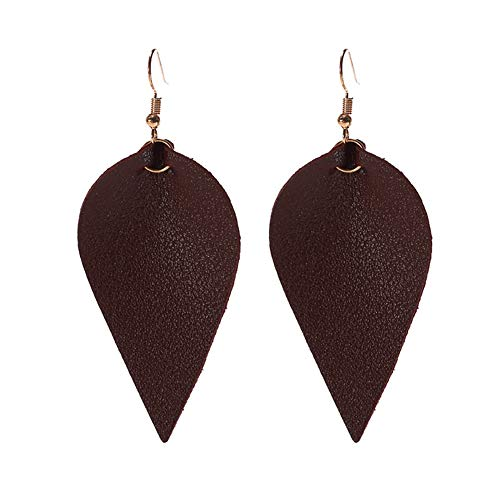 Joyfeel buy Pendientes de moda para mujer Pendientes en forma de hoja de cuero Joyas Puntos marrones