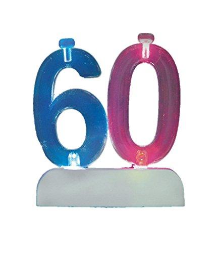 Unique Party- Portavelas de cumpleaños intermitente número 60 con 4 velas (37546)