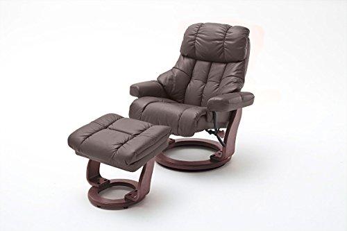 lifestyle4living Relaxsessel XXL aus Leder in Schwarz mit Hocker | Fernsehsessel ist manuell verstellbar und 360° drehbar | Sessel lädt zum Lesen und Entspannen EIN
