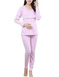 BESTHOO Still-Schlafanzug Damen Diskretes Stillen Pyjamas Overall Umstands Lange Ärmel Schlafanzug Baumwolle Sleepwear Schlichtes Design Schlafanzüge
