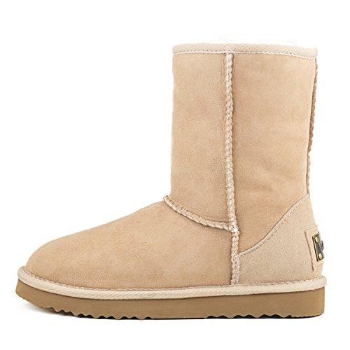 Shenduo Bottes femme cuir de mouton, Boots fourrées hiver Mi-mollet doublure chaude de laine DV5825 Sable