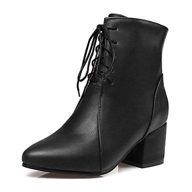 GLL&xuezi Da donna Stivaletti Stivali Autunno Inverno Finta pelle Casual Formale Lacci Quadrato Nero Beige Giallo 2,5 - 4,5 cm black