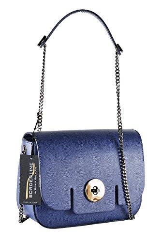 BORDERLINE - 100% Made in Italy - Borsa rigida da Donna in Vera Pelle - LUCIA Blu