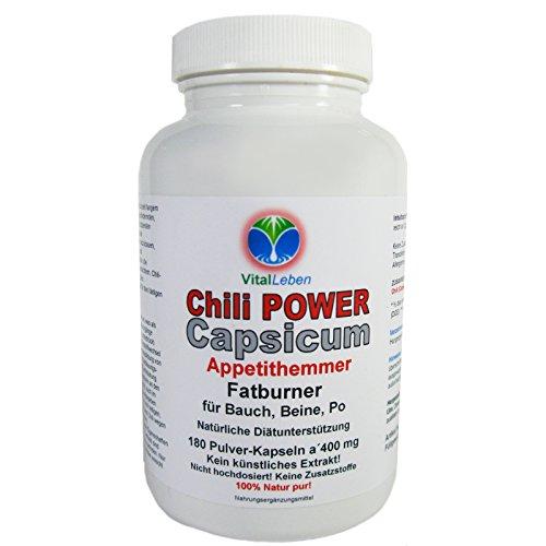 *Chili Power Capsicum Capsaicin 180 Pulver Kapseln #25597 | Diät Appetithemmer Fatburner Bauch Beine Po | 100% Natur pur Cayenne Pfeffer Mexico | NICHT hochdosiert. KEIN EXTRAKT. OHNE ZUSATZSTOFFE!*