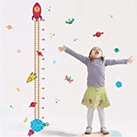 Outer Space Planet Pilot Rocket Growth Chart Home Decor Height Measure Wall Stickers Kids Boy Room Baby Nursery Mural