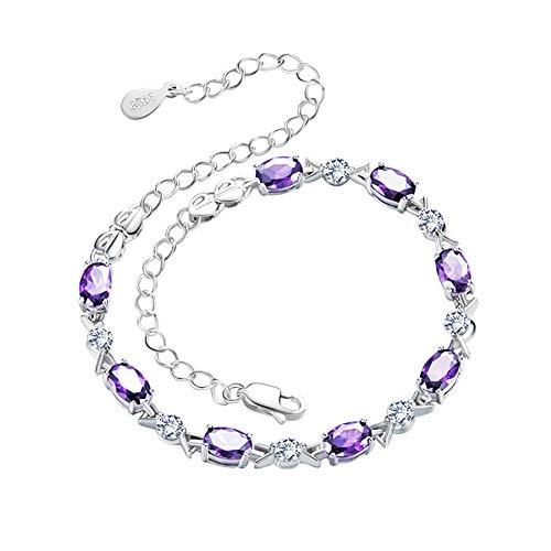 ZSML Zircon S925 Sterling Silber Frauen Armband, Amethyst Natural Gemstone Schmuck Silberarmband, Designer perfekte Mode-Feiert-Geschenk-Schmuck Schmuck,8zircon