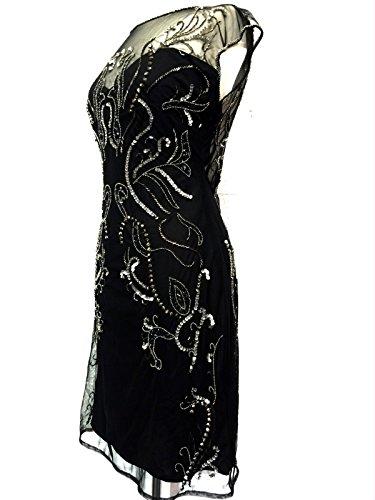 Femmes 1920s Noir perlé Style Vintage Cocktail Sequin Robe droite Noir