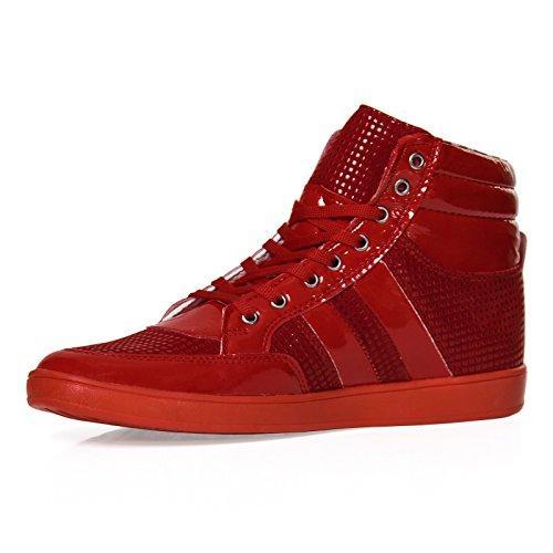 Herren High Top Sneaker 701 Schuhe Sport Schwarz Rot Blau Schwarz 40-44 Rot