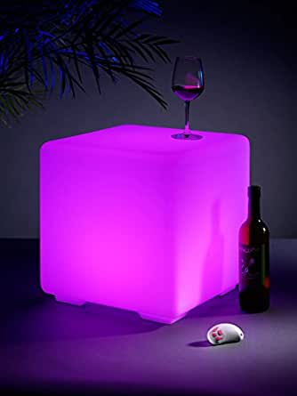 Auraglow Light Up LED Colour Changing Outdoor Mood Cube Garden Furniture Stool