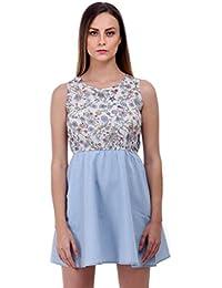 Bonhomie Women Off White Print Crepe Body Denim Skirt Midi Dress