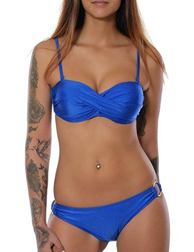 Sexy Twist (Damen Badeanzug Twist Push-Up Bikini-Set in angesagten Farben No 15571, Farbe:Blau;Größe:34 / XS)