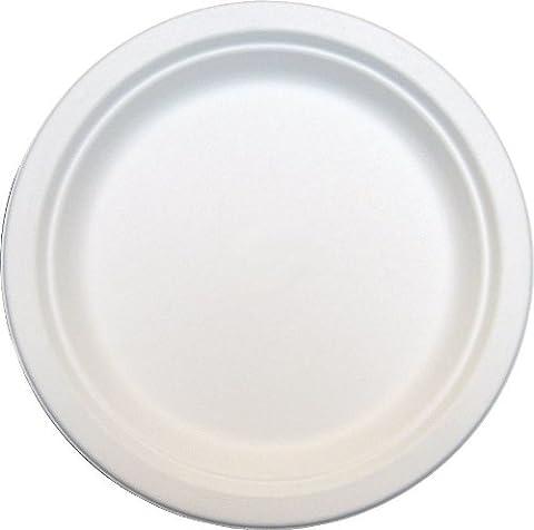 De Sortie–1000x rond 15,2cm solide papier blanc Assiettes jetables biodégradables