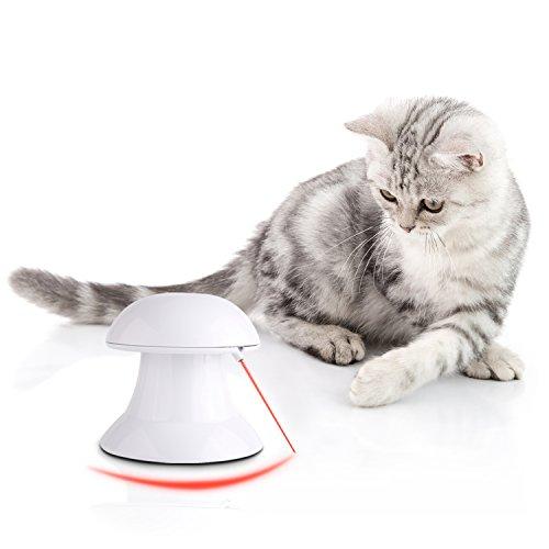PEDY Jouet Chat Interactif Jouet Chat Electronique AutomatiqueInteractive Jouet de Lumière Jeu d'exercice de Divertissement 4 Modes de Vitesses-Rotation de 360 °
