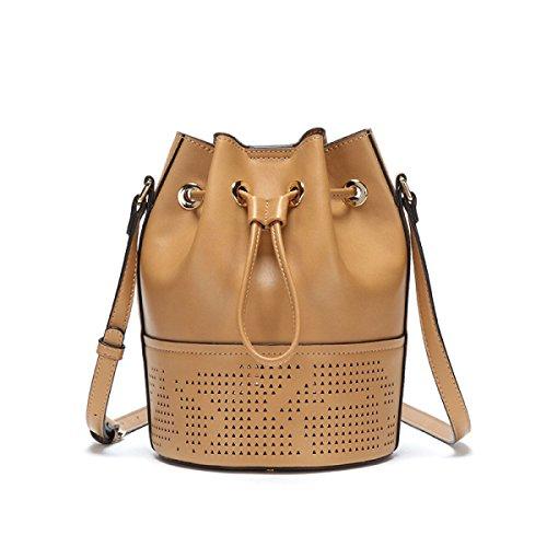 GSHGA Nouveau Sac à Bandoulière Décontracté Femmes Sac à Main Cordon Messenger Bag Sac Seau Véritable Totes,Brown