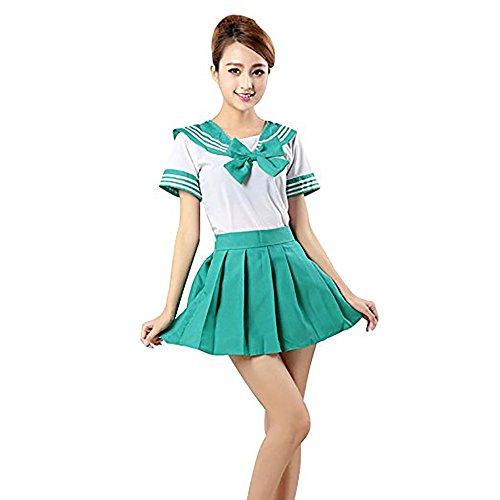 Woneart Mädchen Frauen Japanische Uniform Cosplay Kostüm Anime Schulmädchen Maid Sailor Fancy Dress Adults Outfit Dessous Sets Fasching (Green, Medium)