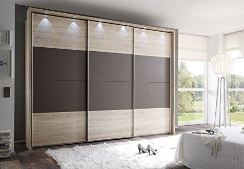 Schwebetürenschrank, ca. 300 cm, inkl. Passepartout & 6 x LED Spots, Sonoma Eiche, Mocca, Kleiderschrank