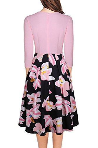 Le Donne Eleganti Scollato Di 3 / 4 Della Manica - Swing Madi Vestito Floreale Pink