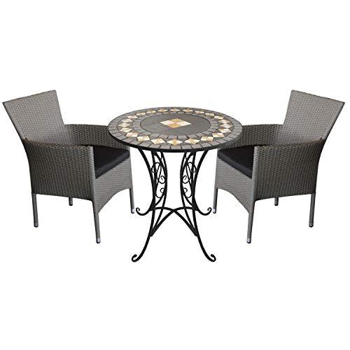 3tlg. Mosaikgarnitur Sitzgruppe Mosaiktisch Ø70cm + 2X stapelbare Polyrattan Sessel Grau inkl. Kissen Schwarz