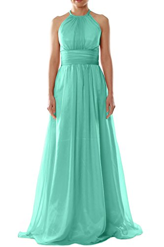 MACloth Women Halter Chiffon Long Bridesmaid Dress Wedding Party Evening Gown Turquoise