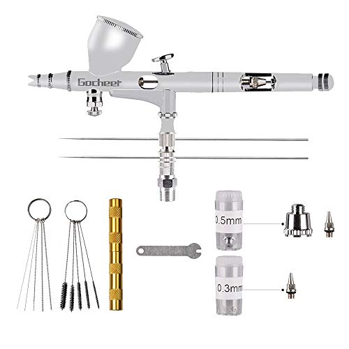 Gocheer Profi Airbrush Pistole Set-Double Airbrush Kit mit 0,2 0,3 0,5mm Nadel für Kunst Tattoo Nail art Make up Kuchen Modellbau mit Airbrush Reinigung Set