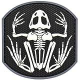 PVC hizo rana rana esqueleto parche de velcro esqueleto parche [base: negro / patroen: blanco]