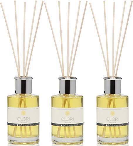 OLORI < 3er Sparpack > 600ml (200ml je Flasche) - natürlicher Raumduft Diffuser in der Sorte JASMIN