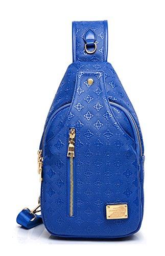 Keshi Pu neuer Stil Schulrucksäcke/Rucksack Damen/Mädchen Vintage Schule Rucksäcke mit Moderner Streifen für Teens Jungen Studenten Blau