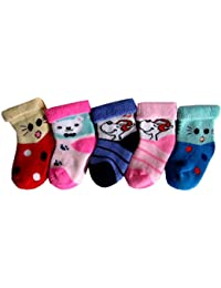 RC. ROYAL CLASS New Born Baby Cotton Towel Multicolored Socks (0-6 months)(Pack of 5 Pairs)