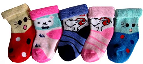 RC. ROYAL CLASS New Born Kids Cotton Socks Pack of 5 Pairs (soft terry socks)