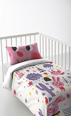 Pack 3 piezas: Funda nordica + sabana bajera + funda de almohada 30 x 50 cm para cunas de 120 x 60 cm color rosa algodón 100% Fabricado en España PINK RABBIT