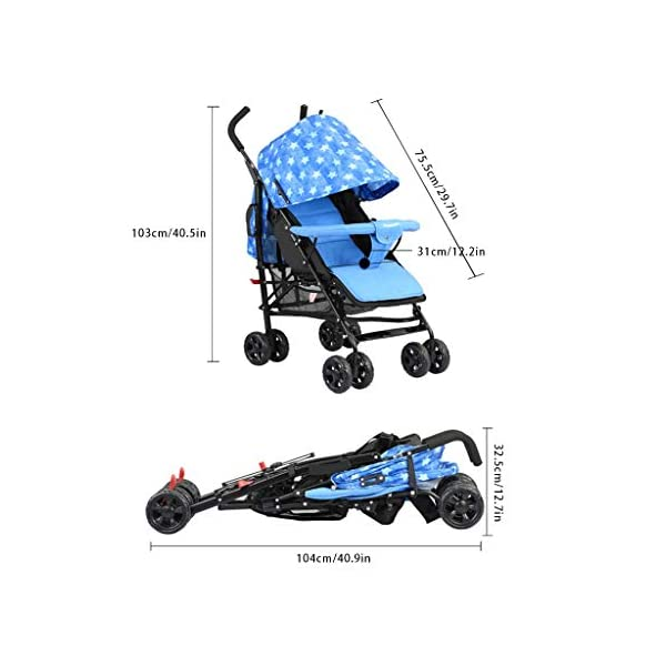 JIAX Foldable Baby Stroller,Travel System with Baby Basket Anti- Newborn Baby Pushchair Adjustable High View Pram Travel System Infant Carriage Pushchair (Color : Blue) JIAX ✤FUNCTION: The stroller can be used as a bed for babies aged 0-6 months. In addition, it can be replaced with a seat suitable for children aged 7-36 months. ✤GLOWING POINT: Only one step for braking or releasing the stroller, firm, wear-resistant, comfortable cushion, sitting mode, half-lay mode, flat-lay mode ✤MORE FEATURES: high enough to protect your baby from dust, can be paired with a dining table like a chair, and the canopy can be adjusted according to the weather 7