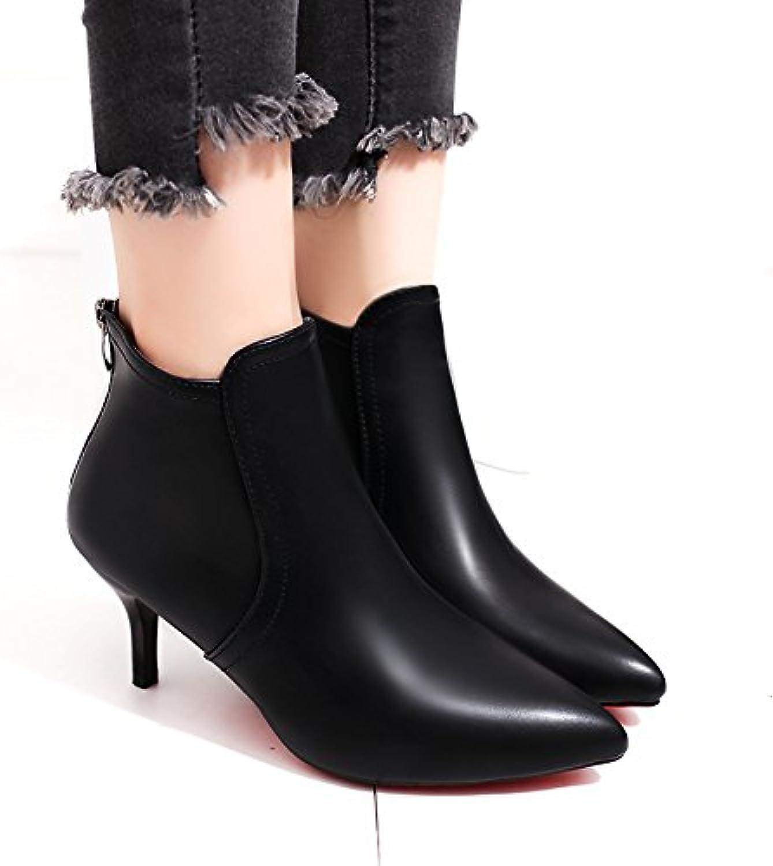 Señoras moda _Inicio video negra botas de tacón alto delgado, señaló delgado y estilizado, Negro (7 cm) con 34