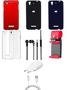 NIROSHA Cover Case Charger Headphone Mobile Holder car Combo for YU Yureka Combo