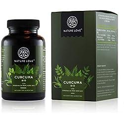 NATURE LOVE® Cúrcuma orgánica cápsulas - 2150 mg por dosis diaria. 240 cápsulas veganas. Controlado en laboratorio y ecológico certificado. Altamente concentrado, elaborado en Alemania.