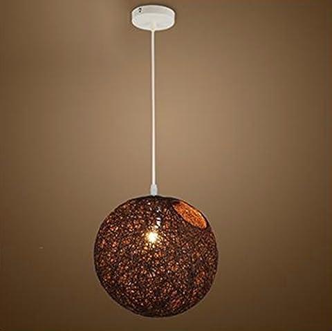 GZLOFT Lampe Suspension Plafonnier Lustres Boutique de thé, lait orbes Ma balle rotin,25cm Led-Espresso Brown
